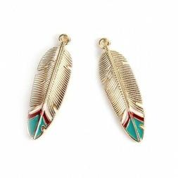 Jewelry Making Findings - Pendants Feather Gold Plated Green
