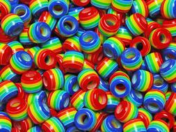 JOLLY STORE Crafts Rainbow of Colors Stripes 11x10mm Pony Ha