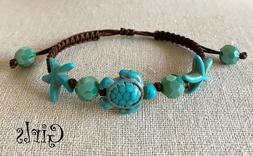 Kids Girls Junior Size Sea Turtle Starfish Charm Green Beads