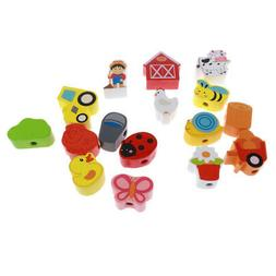 Kids Wood Lacing Farm Threading Beads Toy Play Fun Early Edu