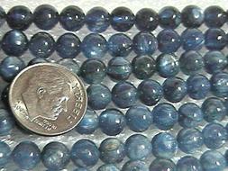 Kyanite 6mm - 6.5mm Medium to Dark Blue Round Beads  TEN BEA