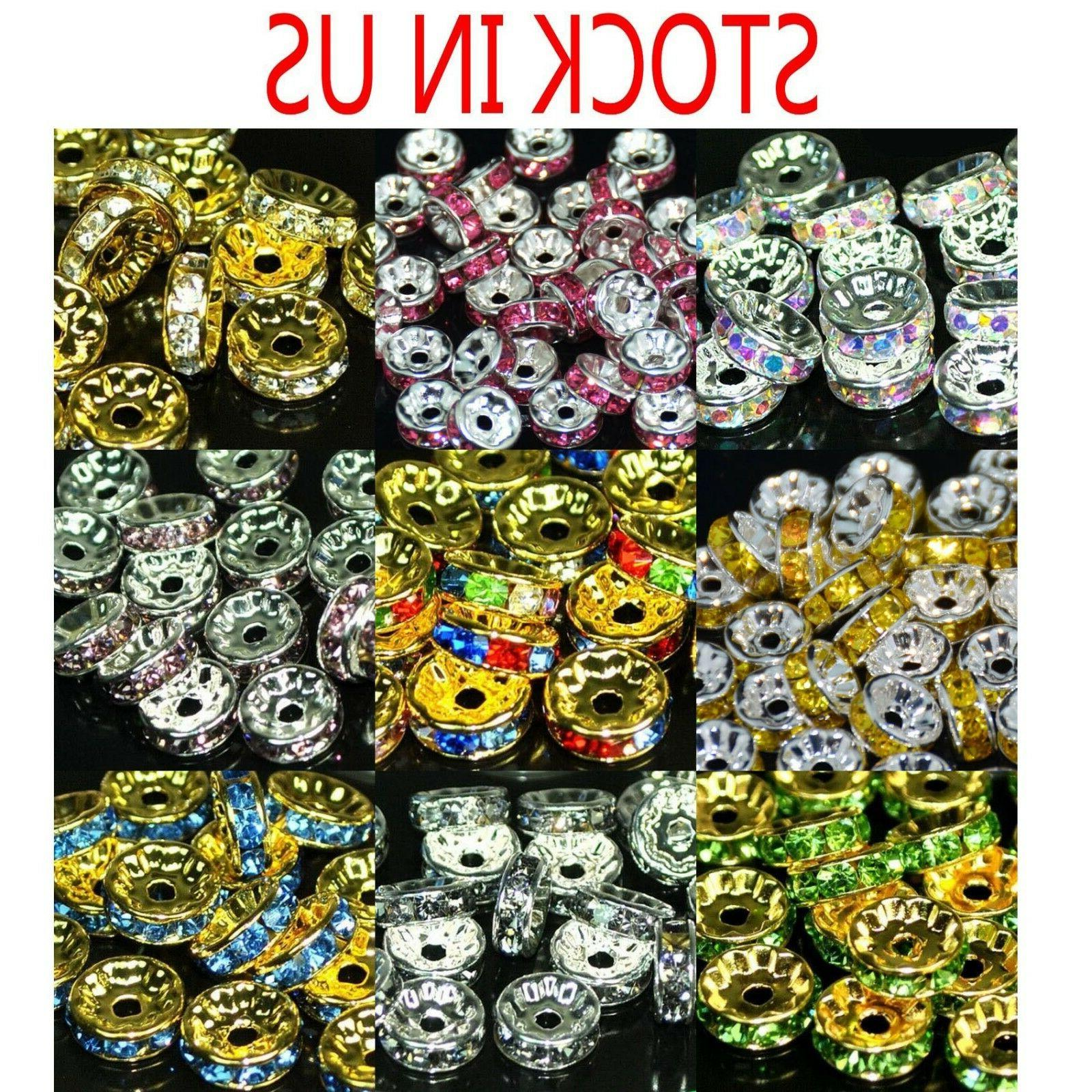 100pcs czech crystal rhinestone rondelle spacer beads