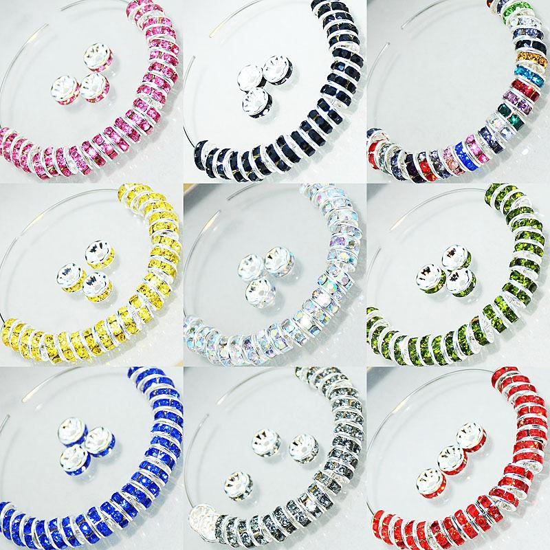 100pcs czech crystal rhinestone silver rondelle spacer