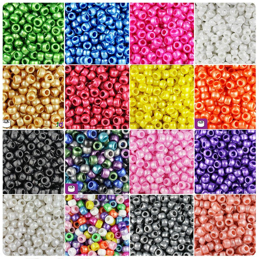 100x pearl 9x6mm barrel plastic pony beads