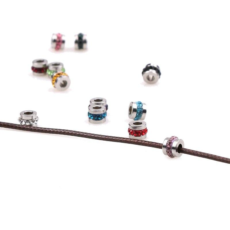 Aiovlo 10pcs/lot Stainless Steel Zircon DIY Hole Charm Jewelry Making