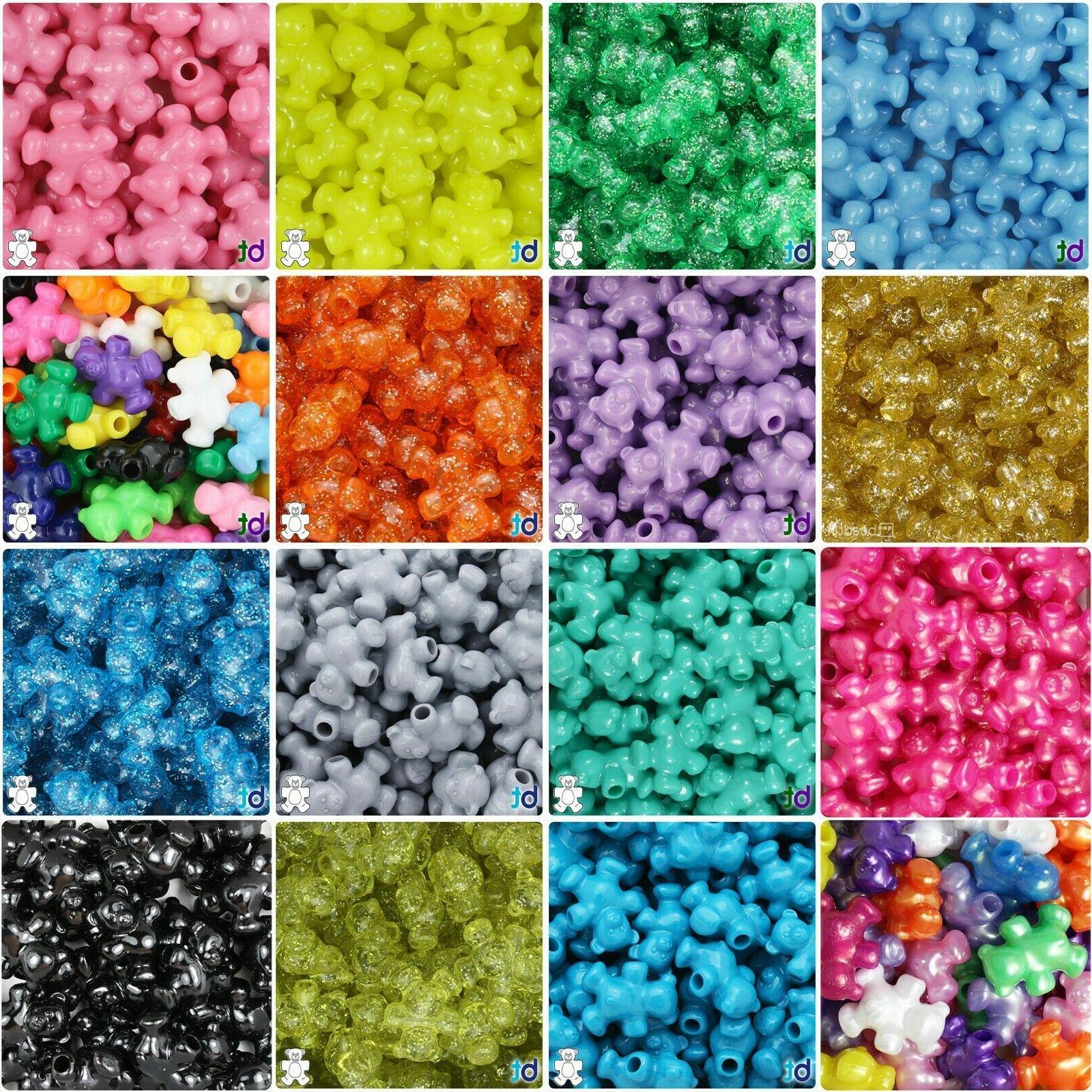 25mm teddy bear plastic pony beads 24pcs