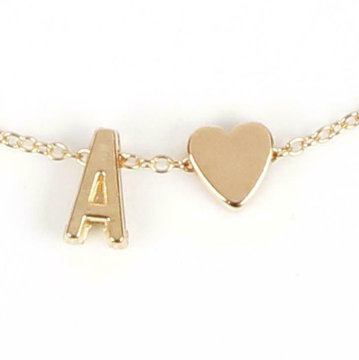 26 Initial Letters Heart Gold Pendant