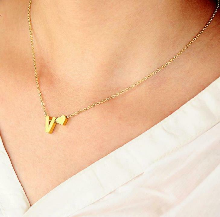 26 Alphabet Initial Letters Heart Gold Necklace Chain Pendant