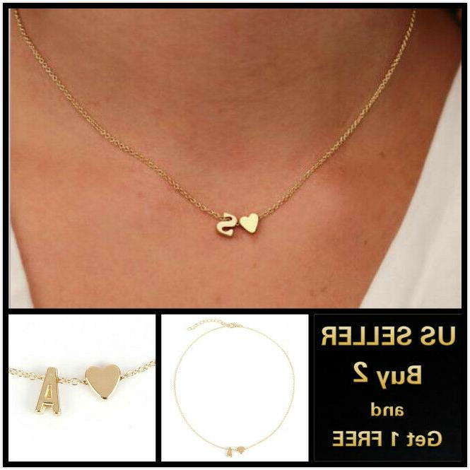 26 alphabet initial letters heart gold necklace