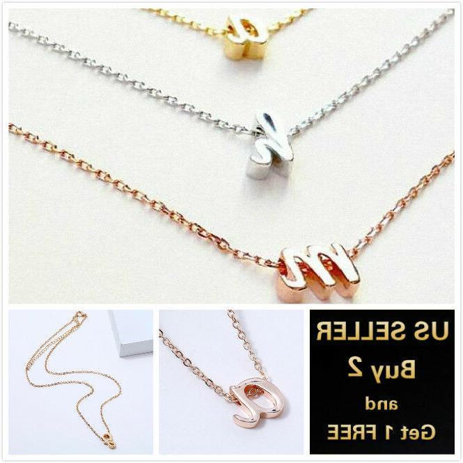 26 alphabet initial letters necklace chain pendant