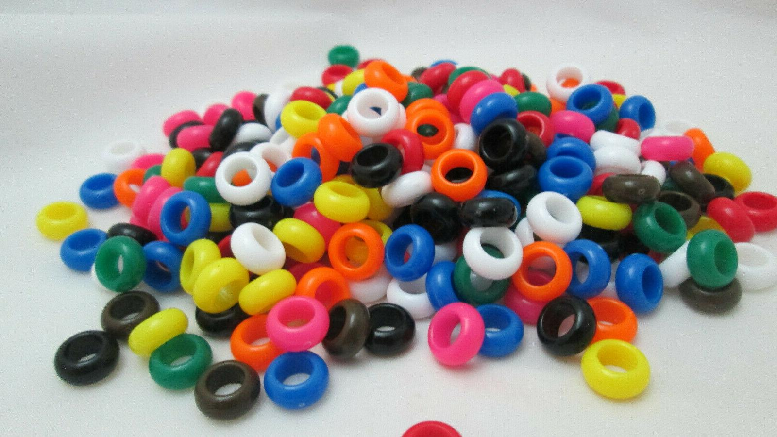 300 Narrow Round Hole Beads - Assorted