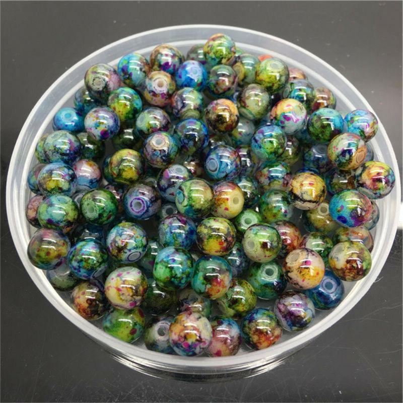 30pcs 8mm double color glass pearl round