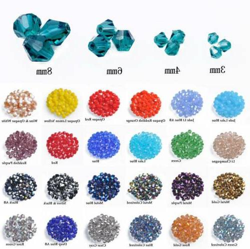 3mm 4mm 6mm 8mm bicone faceted crystal