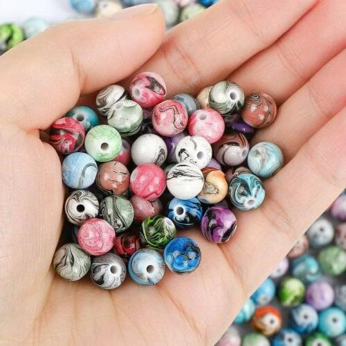 50 marble acrylic beads 8mm assorted lot