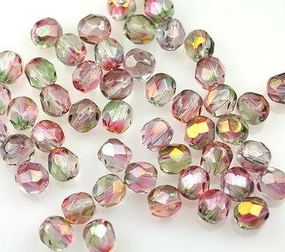 50 pink green glass fire polished faceted