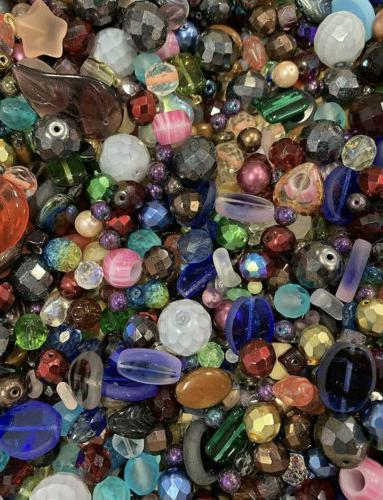 50pcs assorted glass loose beads bulk mixed