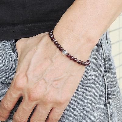 AAA Garnet Sterling Silver Bead Bracelet 5.5mm Bead