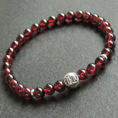 aaa garnet sterling silver bead bracelet mens