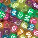 Alphabet Beads 7Mm 160/Pkg-Transparent Multicolored