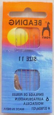 PONY Beading Needles - Size 11 Regular - Qty: 6 - #07806