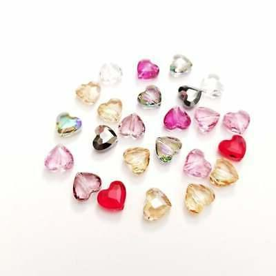 crystal faceted heart love beads 8mm 5741