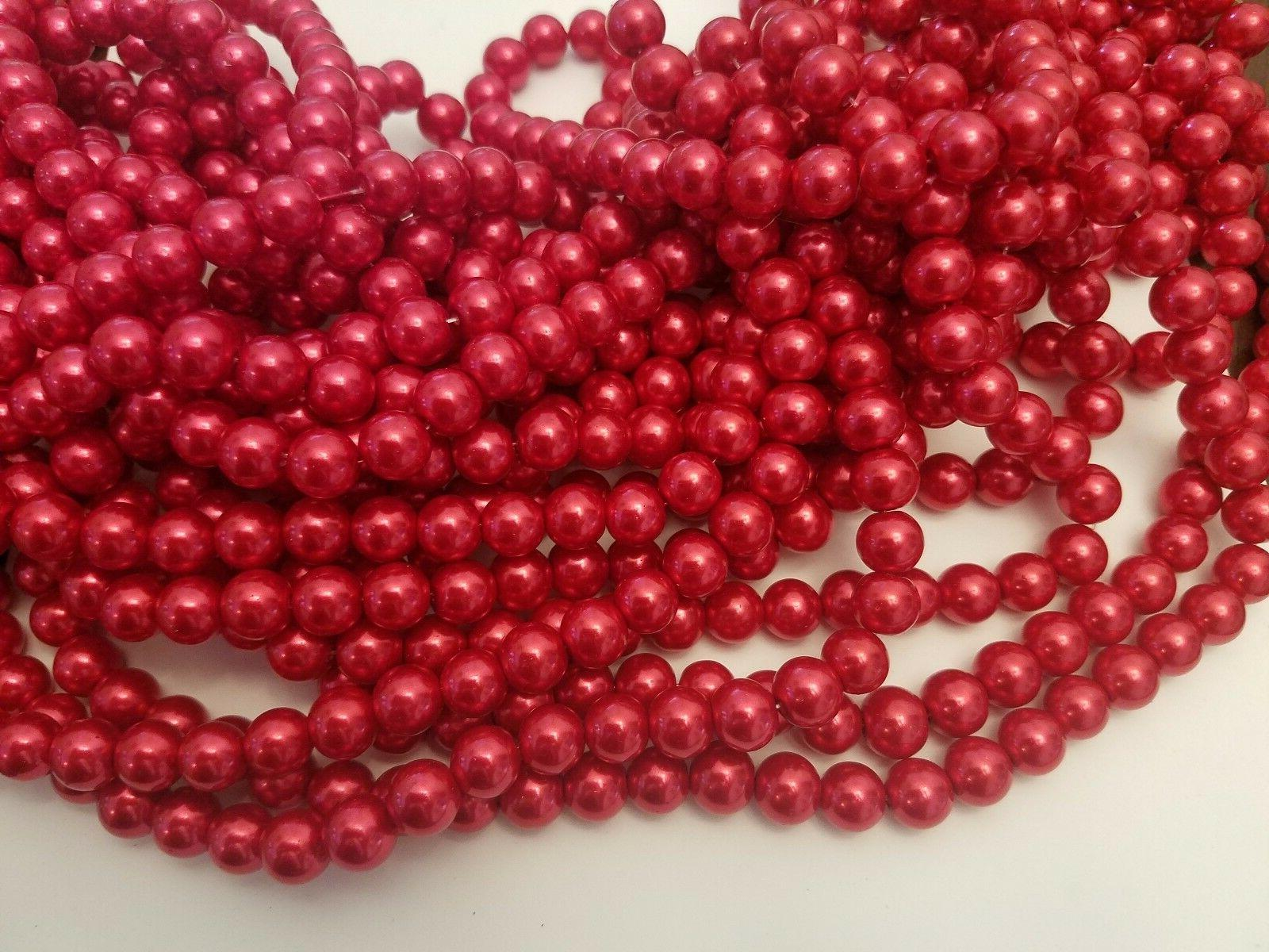 dyed red glass pearl beads round 10mm