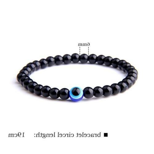 fashion 6mm natural stone beads evil eye