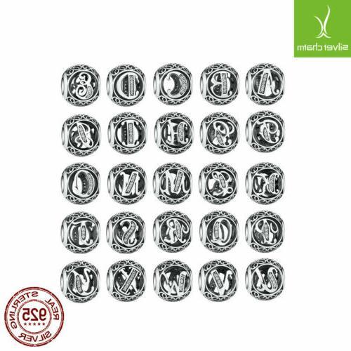 free 26 letters european silver cz charm