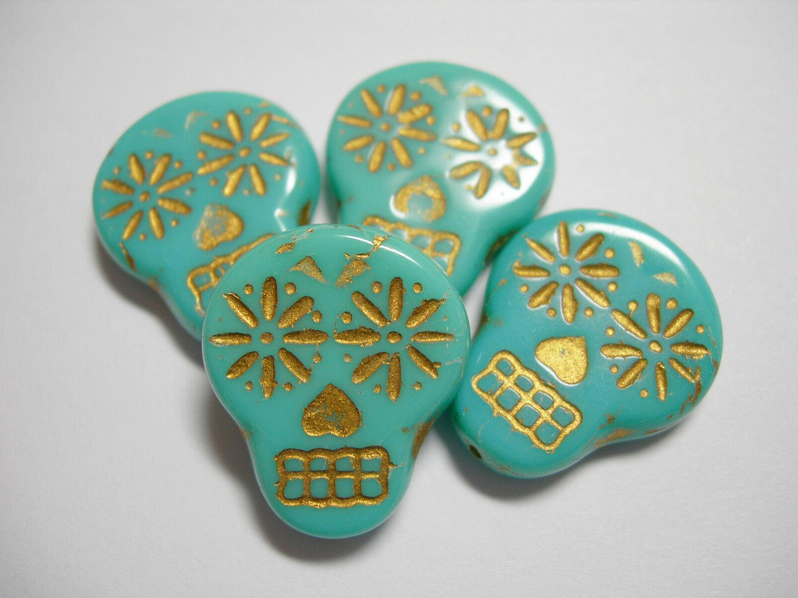 glass sugar skull beads turquoise with gold