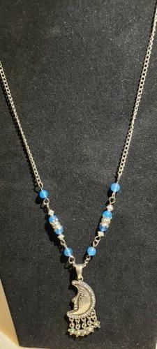 Gorgeous Crystal Moon Necklace with Blue Chalcedony Beads an