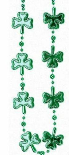 Green Multi Shamrock St Patricks Day Mardi Gras Bead Clover