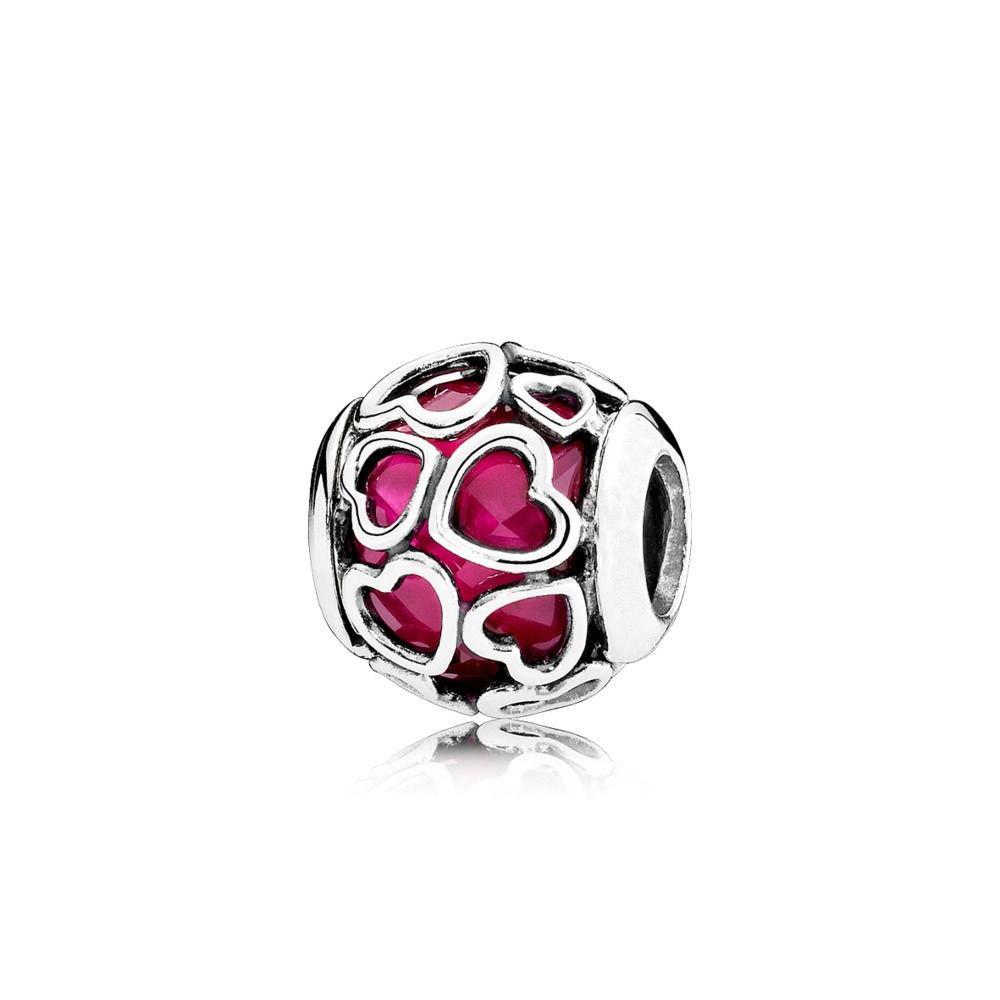 Hot Silver Love Heart Fall Love <font><b>Bead</b></font> For Original Pandora & Jewelry