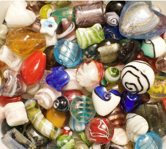 Lampwork Beads, Bulk, Mixed Style Colors, Handmade Glass