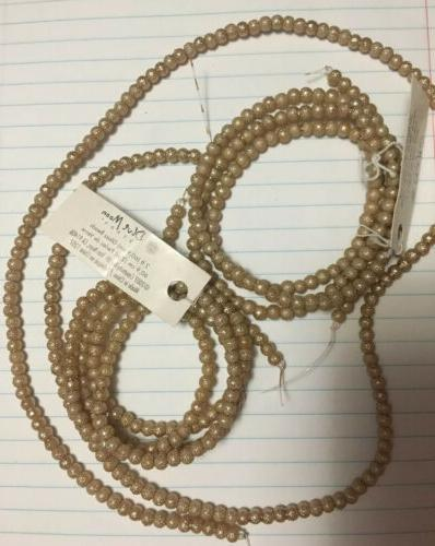 Lot Metallic Round Beads Ivory Gold Necklace Making Blue Moon