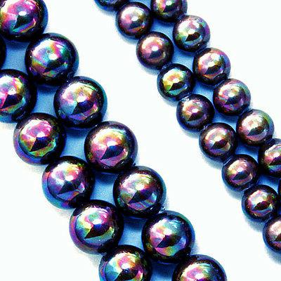 magnetic stone beads pearlized iridescent rainbow blue