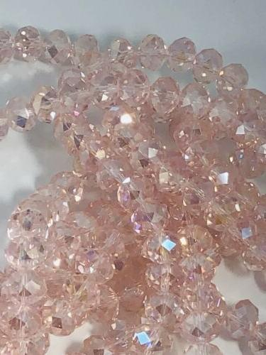 pink round crystal glass spacer beads 10