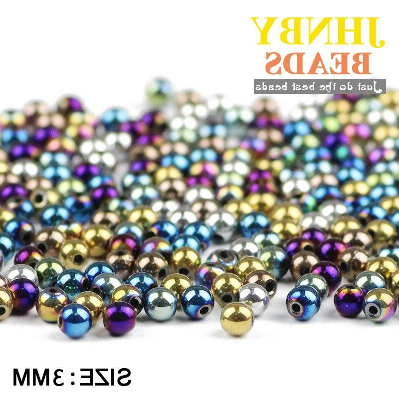 JHNBY Black 3mm 200pcs Natural Stone ore Plating <font><b>beads</b></font> ball bracelet Making DIY Accessories