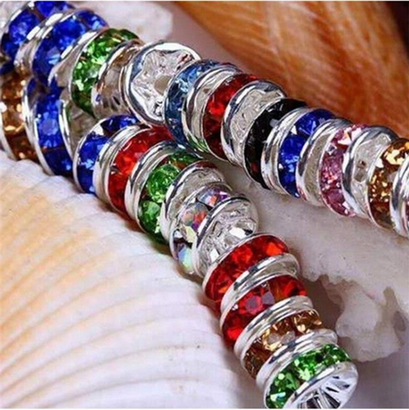 Wholesale 50pcs 6MM Silver Plated Crystal Rondelle Spacer <font><b>Beads</b></font> 13 Colors DIY