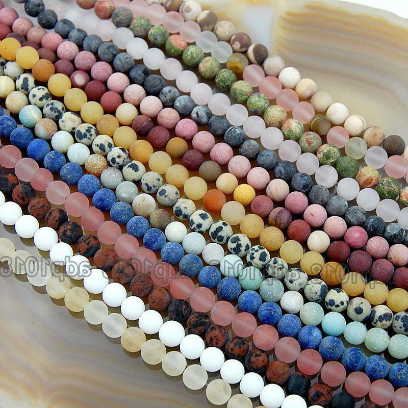 wholesale natural matte gemstone round spacer loose