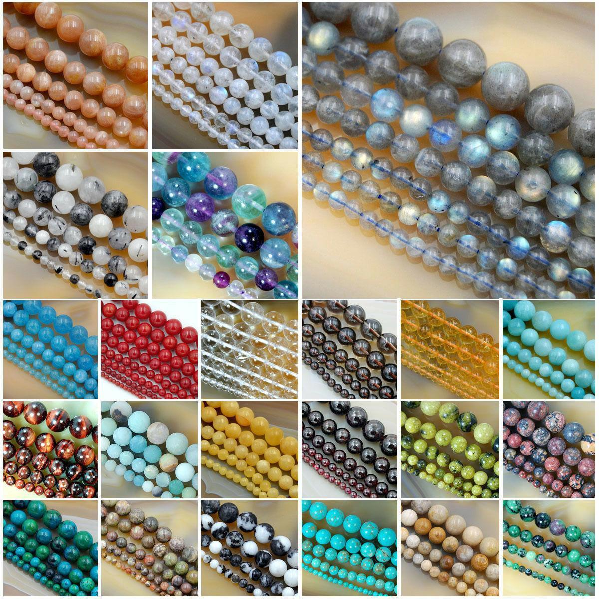wholesale smooth natural gemstone round loose beads
