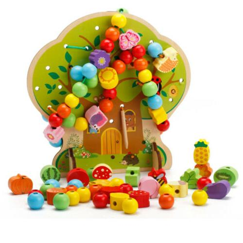 wooden lacing beads set baby daycare preschool