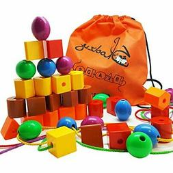 Skoolzy Lacing Beads for Kids Toddler Toy - JUMBO Primary La