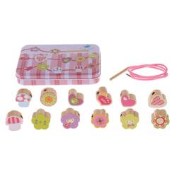 Lacing Wooden Threading Beads Set Blocks Educational Toy for
