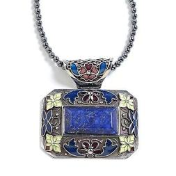 Lapis Lazuli Hematite Beads Flower Chain Pendant Necklace fo