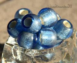Large Hole,12mm,  Rondelle, Pony Beads, Sapphire w/Silver Li