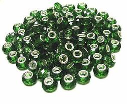 Large Hole Beads Green Roundelle European Bead  Facets 15 x
