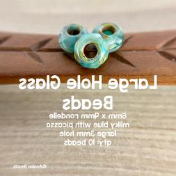 Large Hole Glass Rondelle Roller Beads - 6x9mm with 3mm Hole