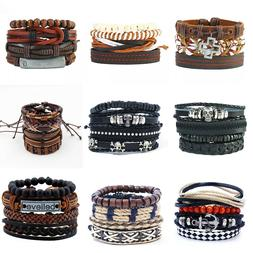 Leather Bracelet Handmade for Men Women Multilayer Wristband
