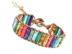 Leather Handmade 7 Chakra Yaga Bead Wrap Bracelet Jewelry