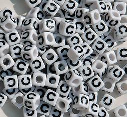 Letter C - 100pc 7mm Alphabet Beads White with Glossy Black